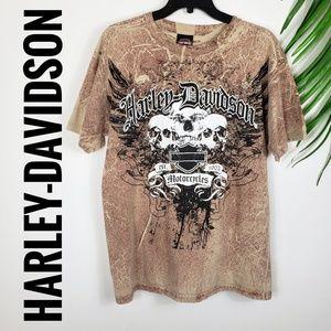 Harley-Davidson Skull T-Shirt Tan Medium Javelina